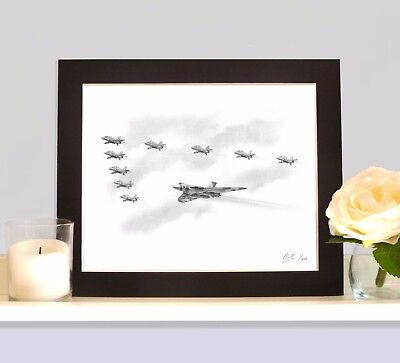 SPIRIT OF GREAT BRITAIN VULCAN With the RED ARROWS Art Drawing MOUNTED Print