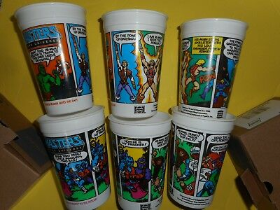 Lot of 6 Vintage He-Man Masters of the Universe Burger King Cups 1985