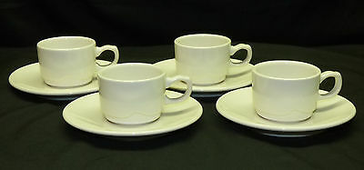 4 Syracuse China Barista White Restaurant Ware Cappuccino Coffee Cup Saucer Sets