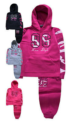 Girls Tracksuit New Kids Slogan Love Joggers Hoodie Outfit Ages 2 - 10 Years