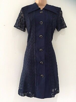 Japanese Vintage 70's Mod Navy Blue Lace Button Through Shift Evening Dress 10
