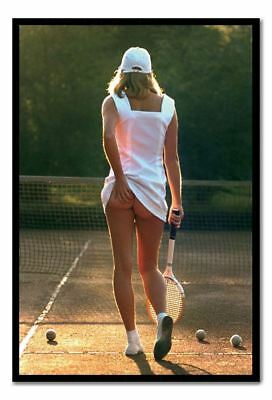Classic Tennis Girl Poster Black Framed Ready To Hang Frame Free P&P