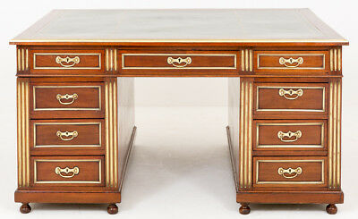 Antique French Empire Mahogany Partners Desk Writing Table