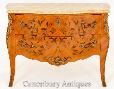 French Empire Marquetry Inlay Bombe Commode Chest Drawers