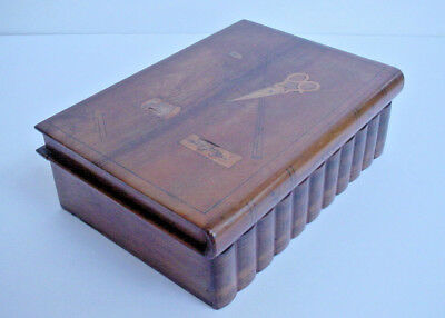 Antique Book Shaped Wood Sewing Box with Inlaid Top