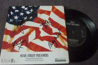 """MANIC STREET PREACHERS - SIGNED BY ALL 4 - Theme From MASH 7"""""""