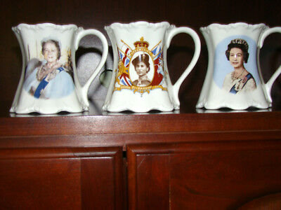 Six (6) Antique Vtg Uk Coronation Mugs Tankards Queens Kings Bone China Free Sh