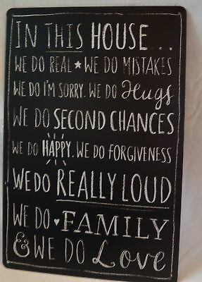 """New Metal Quote Plaque """"in This House"""" ...we Do Happy We Do Family Sign"""