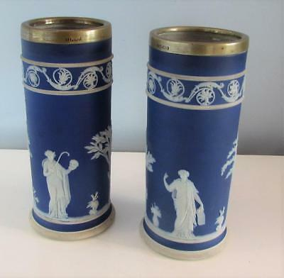 Pair Antique 19thC Wedgwood Blue Jasper Ware Vases with EPNS Rim - Neoclassical