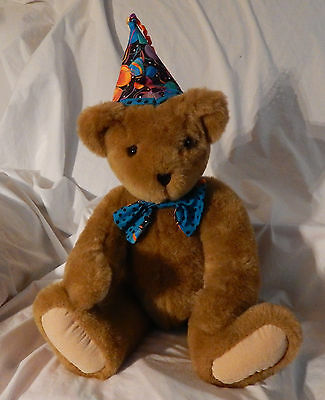 """20"""" Vermont Happy Birthday Teddy Bear Plush 1994 Brown Posable Vintage Jointed"""