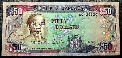 JAMAICA: 1988 $50 Banknote P-73a Signature 8 **VF+ CONDITION** FREE COMBINED S/H