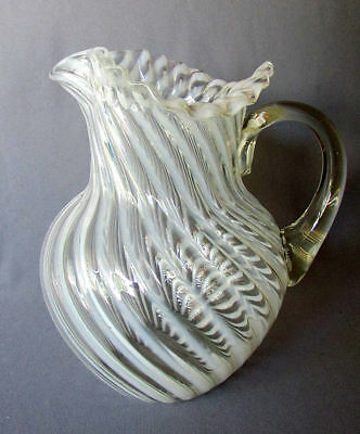 "ANTIQUE 19th Century VICTORIAN ERA Blown Glass OPALESCENT SWIRL 9"" PITCHER 1880"