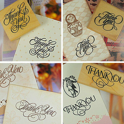 Natural Vintage Thank You Wooden Rubber Stamp Craft Wedding Party 4 Styles FG
