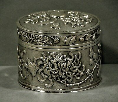 Chinese Export Silver Tea Caddy       Chrysanthemum   c1890       WING FAT