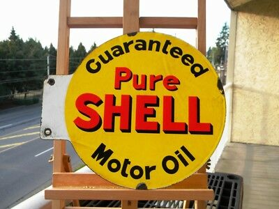 """PURE SHELL MOTOR OIL OLD PORCELAIN SIGN ~14"""" x 12-1/8"""" DOUBLE SIDED FLANGE GAS"""