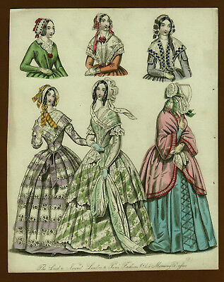 Mode Damenmode Ladies ' Fashion No 2, Kupferstich datiert 1845