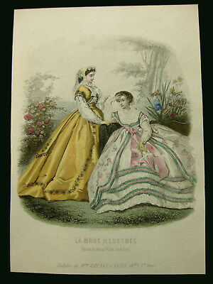 Mode Damenmode Ladies ' Fashion No 2, franz. Stahlstich ca. 1855