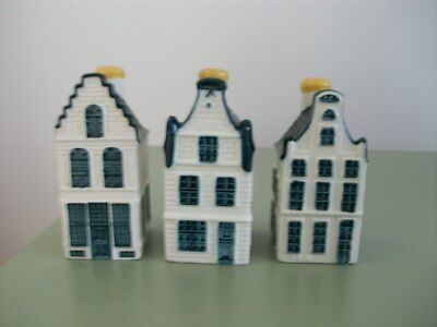 KLM Bols Delft Houses -  Numbers 15, 16, 19 - Sealed With Contents.
