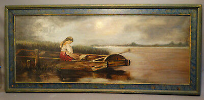 Ca. 1930 Antique LADY in ROW BOAT Old MOONLIT Moon Light FOLK ART Oil PAINTING