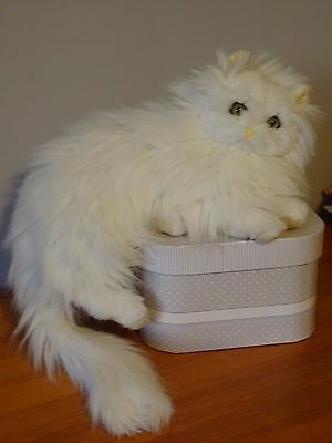 Chat Couche Angora Blanc Vintage 40 Cm  Marque Tieno Made In France