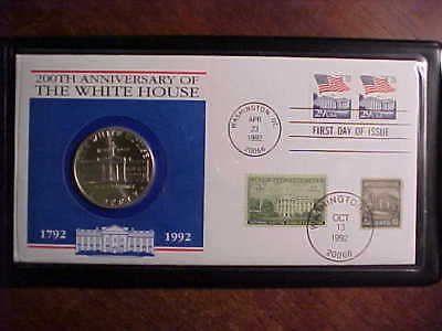 1992 White House 200th Anniversary Silver Dollar +  First Day Special stamps
