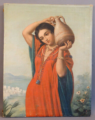 Antique 19thC Victorian LADY at WELL Amphora WATER JUG Old PORTRAIT Oil PAINTING