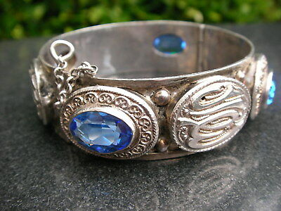 Heavy French Hallmarked Silver Blue Topaz Bracelet Big Old Antique Depose Bangle