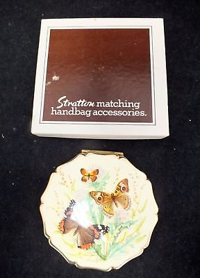 Vintage STRATTON Compact with Enamel Butterfly Design & Original Box - D17