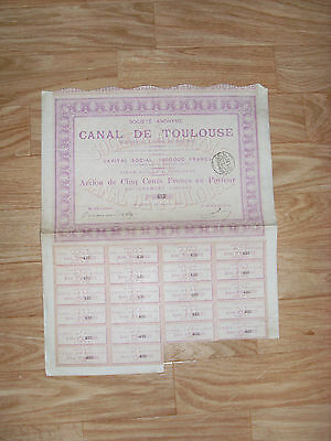 ACTION 500 F CANAL DE TOULOUSE 1892 / 2400 ex / SHARE