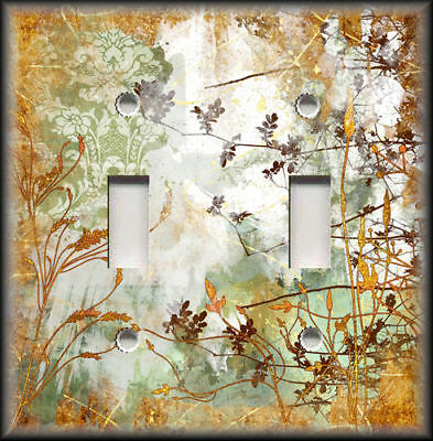 Metal Light Switch Plate Cover - Rustic Nature Floral Green Brown Wallplate
