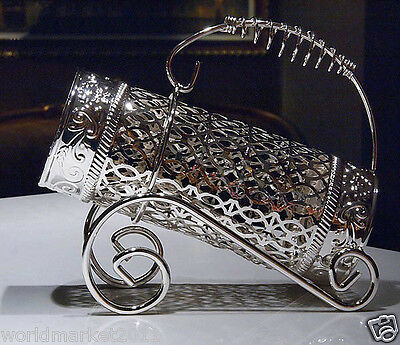 European Alloy Silver Barrel Shape Table Decoration Wine Bottle Holder Wine Rack