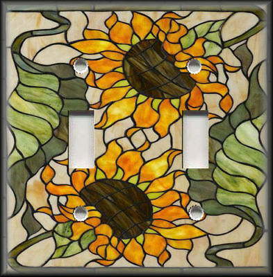 Metal Light Switch Plate Cover - Stained Glass Sunflowers Design Home Decor