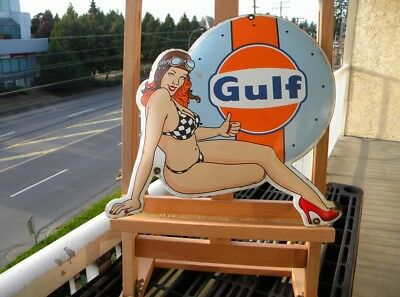 "GULF LE MANS PIN UP OLD PORCELAIN SIGN ~14"" x 12"" GAS PUMP OIL STATION RACING"