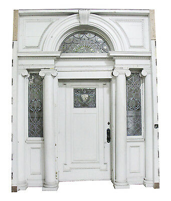 Early 19th Century Federal Mansion Leaded Glass & White Wood Door Entry