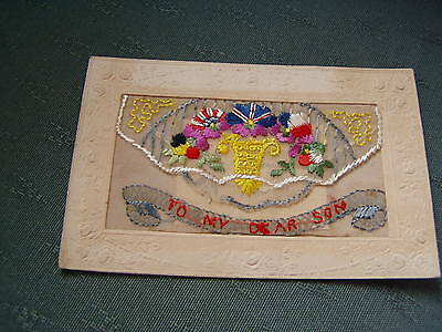 Ww1 Vintage - To My Dear Son - Silk Postcard + Insert Remembrance From France