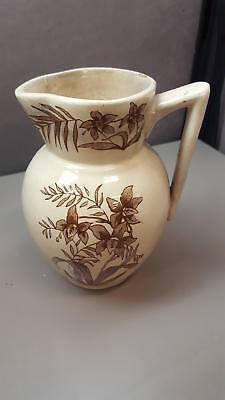 VINTAGE SMALL Ceramic Pouring PITCHER Tan w/ Brown Flowers