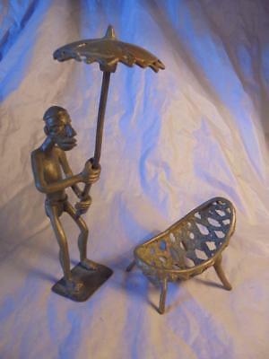 Vintage  African Benin Tribe Bronze Figures Of Man With Parasol & Cradle