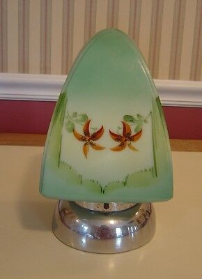 Antique Art Deco Hand Painted Green Glass Ceiling Wall Light Fixture Shade