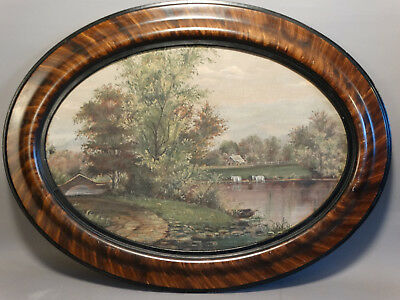 Antique PRIMITIVE Farm COWS in STREAM Old COUNTRY BARN Folk Art PAINTING
