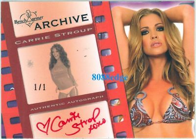 2009 Benchwarmer Archive Red Auto: Carrie Stroup #1/1 Of Autograph