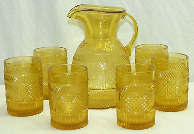 Vintage Pitcher & 6 Tumblers Yellow Amber Sunburst Pattern Sandwich Glass Copy