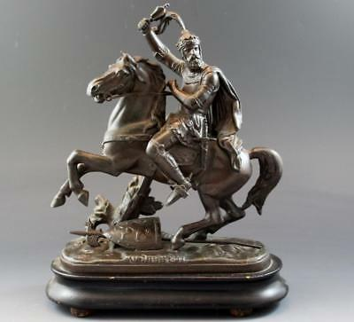19C Continental Spelter Bronze Patina Figure of Edward III on Horseback No Res