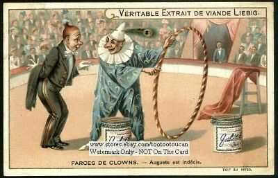 Indecisive French Circus Clown c1903 Trade Ad Card
