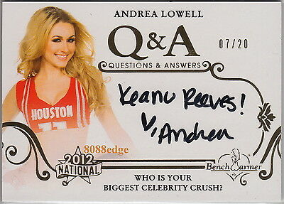 2012 Benchwarmer National Q & A Auto: Andrea Lowell #7/20 Autograph Keanu Reeves