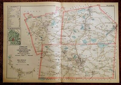 Antique Hand-Colored Map 1898 Paxton, Leicester & Spencer MA Massachusetts