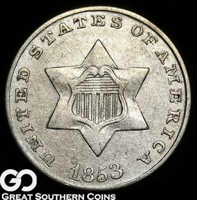 1853 Three Cent Silver Piece, Good Strike for this Date!