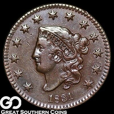 1831 Large Cent, Coronet Head, Tough Early Type, Choice AU+++