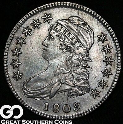 1809 Capped Bust Half Dollar, AU RARE Date, Strong Strike for this Date!