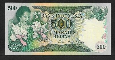 INDONESIA 500 rupiah 1977 P117 UNC woman with orchids / bank building