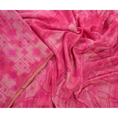 Sanskriti Antique Vintage 100% Pure Silk Saree Pink Printed Sari Craft 5 Yard